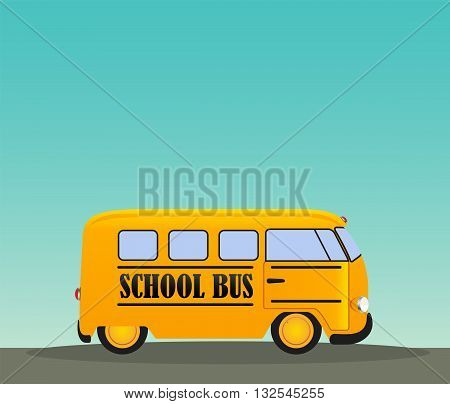School Bus in Road. Back to School Concept Background EPS10