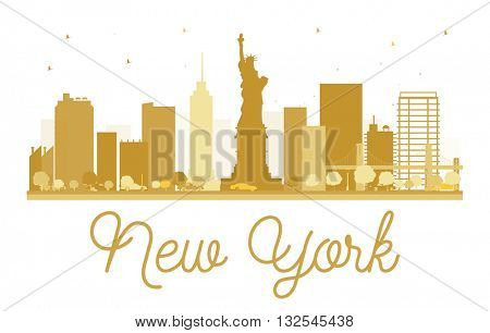 New York City skyline golden silhouette. Vector illustration. Simple flat concept for tourism presentation, banner, placard or web site. New York  isolated on white background