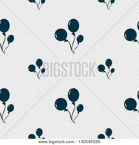 Balloons Icon Sign. Seamless Pattern With Geometric Texture. Vector