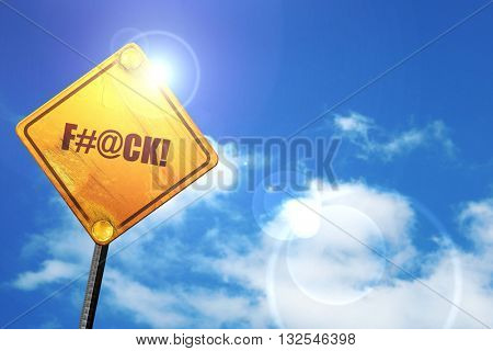 f, 3D rendering, glowing yellow traffic sign