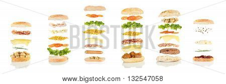 six different kind of sandwiches floating on white background