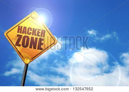 hacker zone, 3D rendering, glowing yellow traffic sign