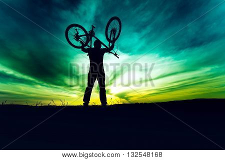 Silhouette, Contour Of Byciclist Rising Bike And Celebrating. Action Of Succesful People Winning Con