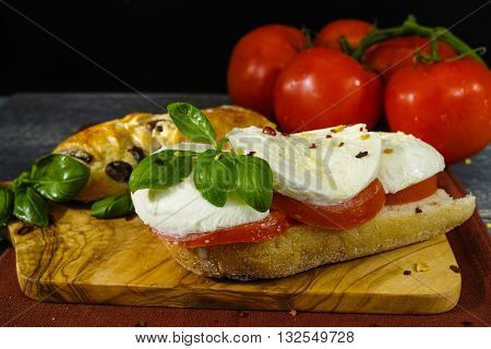 Healthy Vegetarian Veggie Sandwich with tomato basil mozzarella cheese made with bread with black olives italian style