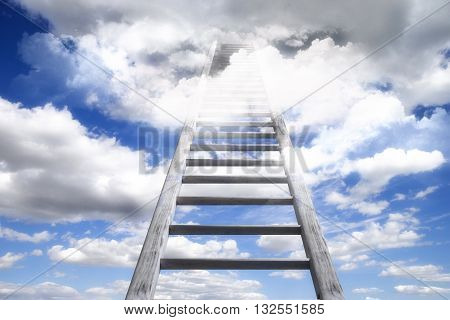 Wooden Ladder Leading To Heaven