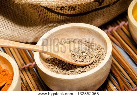 Cumin seed (Cuminum cyminum) herb for ingredient of food. Volatile oil caraway (cumin oil) is used in incense perfumes drinks and carminative.