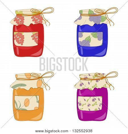 Set of hand drawn jam jars. Sweet jam. Hand drawn illustration in sketch style. Jam jar.