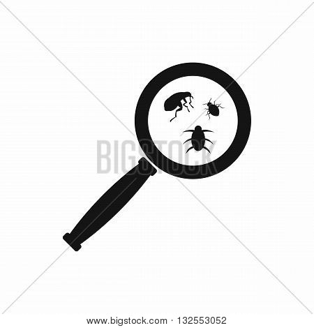 Magnifier and insects icon in simple style isolated on white background