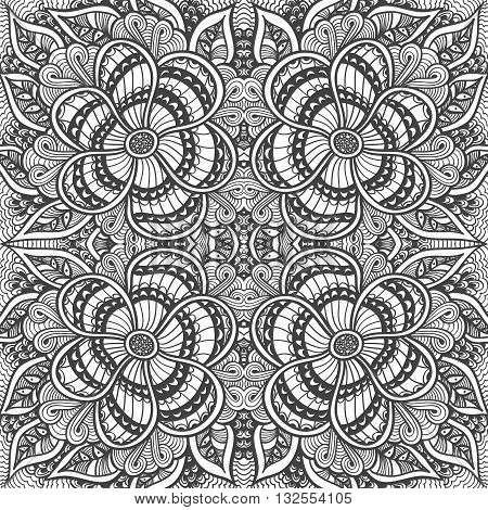 Seamless pattern in  Zen-doodle or  Zen-tangle  style black on white for coloring page or relax coloring book or wallpaper or for decorate package clothes  or different things