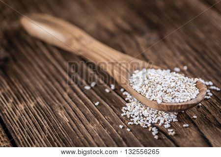 Wooden Table With A Portion Of Puffed Amaranth (selective Focus)