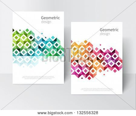 White Brochure, leaflet, flyer, cover template. Modern rainbow Geometric Abstract background red, yellow, purple, green & blue squares and triangles. design creative concept stock-vector 10 EPS