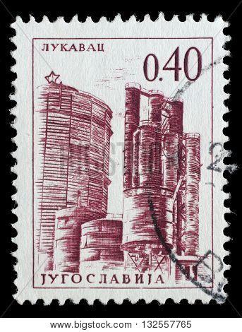 ZAGREB, CROATIA - JUNE 14: stamp printed by Yugoslavia, shows Lukavac coke factory, series, circa 1966, on June 14, 2014, Zagreb, Croatia