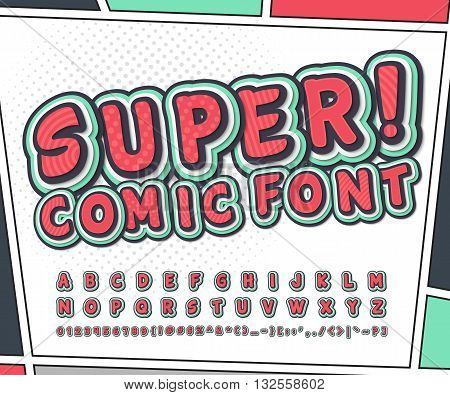 Colorful high detail comic font on comic book page. Alphabet in style of comics, pop art. Multilayer funny letters and figures for decoration of kids' illustrations, websites, posters, comics, banners