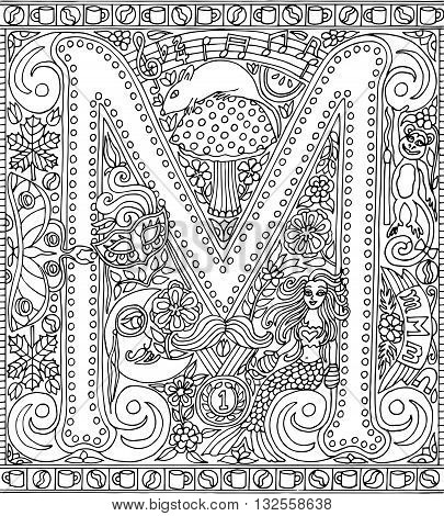 Adult Coloring Book Poster Alphabet Letter M Black and White Vector Illustration
