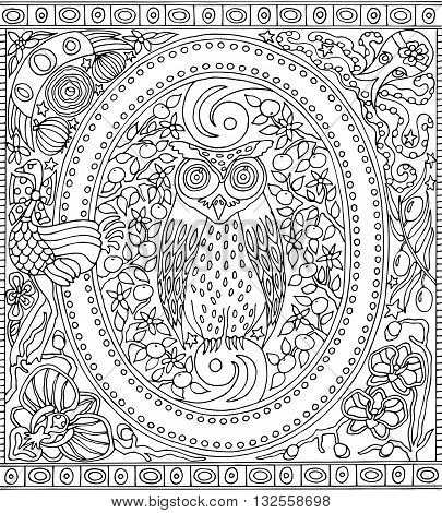 Adult Coloring Book Poster Alphabet Letter O Black and White Vector Illustration