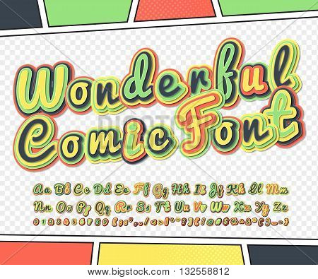 Wonderful colorful high detail comic font on comic book page. Alphabet in style of comics, pop art. Multilayer funny letters, figures for decoration of kids' illustrations, posters, comics, banners