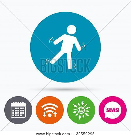 Wifi, Sms and calendar icons. Man falls sign icon. Falling down human symbol. Caution slippery. Go to web globe.