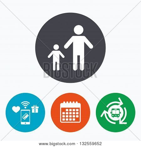 One-parent family with one child sign icon. Father with son symbol. Mobile payments, calendar and wifi icons. Bus shuttle.