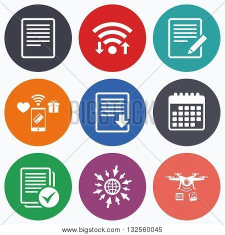 Wifi, mobile payments and drones icons. File document icons. Download file symbol. Edit content with pencil sign. Select file with checkbox. Calendar symbol.
