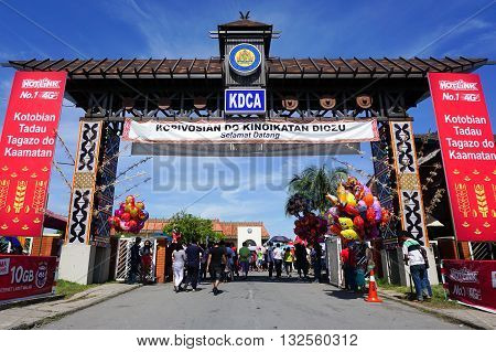 Penampang,Sabah-May 30,2016:Main entrance to Kadazandusun Cultural Association KDCA Hongkod Koisaan,Penampang,Sabah,Borneo during Pesta Kaamatan.Pesta Kaamatan is a Harvest Festival celebrated yearly.