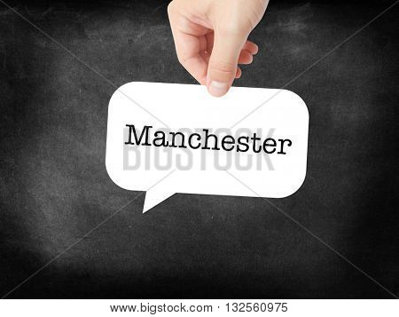 Manchester - the city - written on a speechbubble