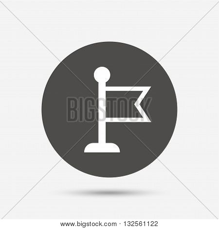 Flag pointer sign icon. Location marker symbol. Gray circle button with icon. Vector