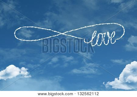 Love Symbol cloud word with a blue sky