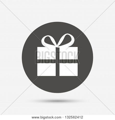 Gift box sign icon. Present symbol. Gray circle button with icon. Vector