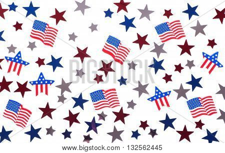 American stars and flags confetti on a white background