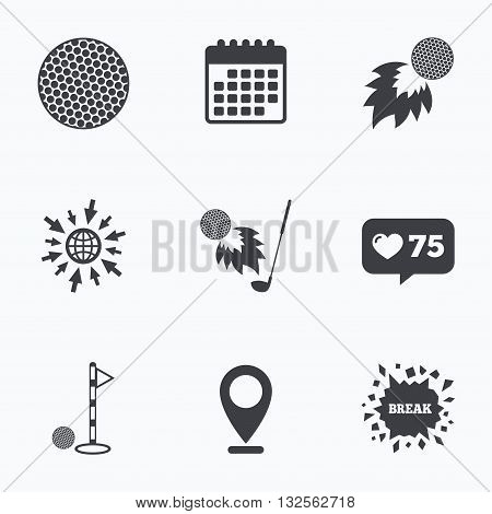 Calendar, like counter and go to web icons. Golf ball icons. Fireball with club sign. Luxury sport symbol. Location pointer.