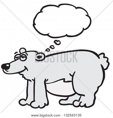 polar bear with thought bubble cartoon illustration