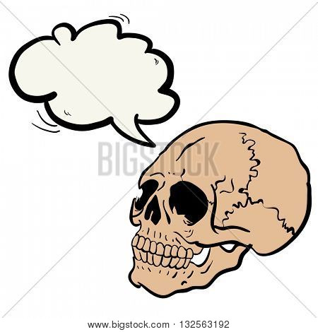 another skull with speech bubble cartoon