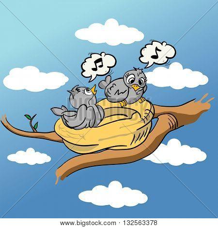 birds in nest singing cartoon
