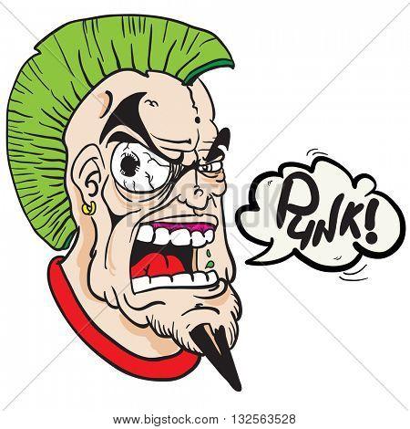fat punk with speech bubble cartoon