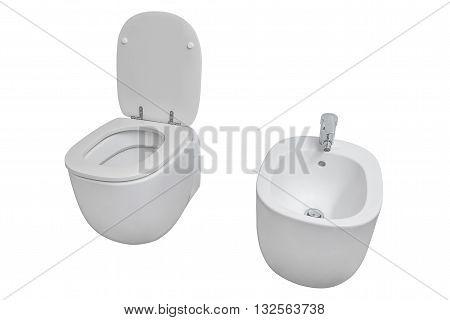 white toilet and bidet isolated on white background