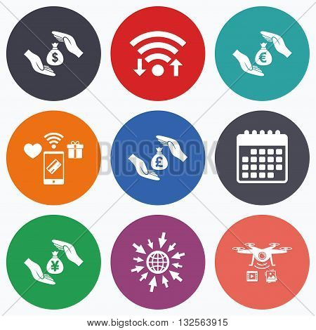 Wifi, mobile payments and drones icons. Hands insurance icons. Money bag savings insurance symbols. Hands protect cash. Currency in dollars, yen, pounds and euro signs. Calendar symbol.