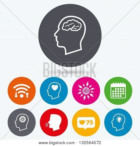 Wifi, like counter and calendar icons. Head with brain and idea lamp bulb icons. Male human think symbols. Cogwheel gears signs. Love heart. Human talk, go to web.