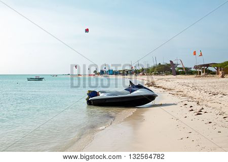 Fisherman Huts on Aruba island in the Caribbean Sea