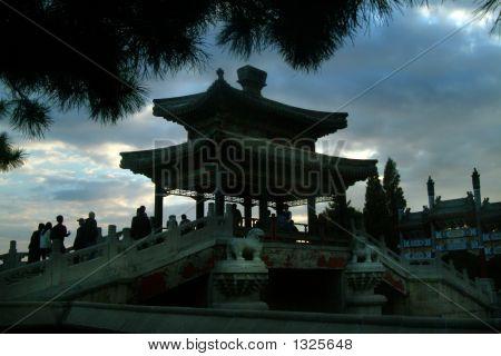 Outdoor Pagoda At Sunset