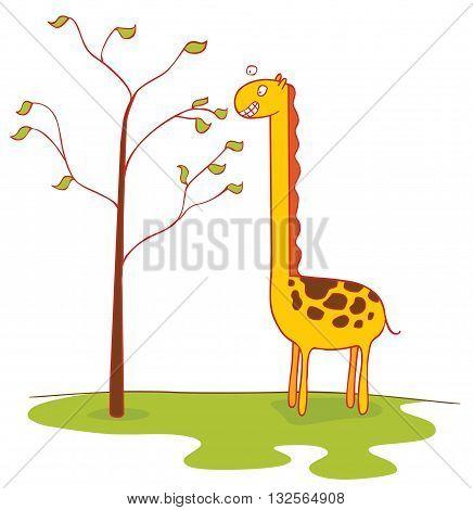 illustration of a giraffe eats leaves (giraffe eats leaves)