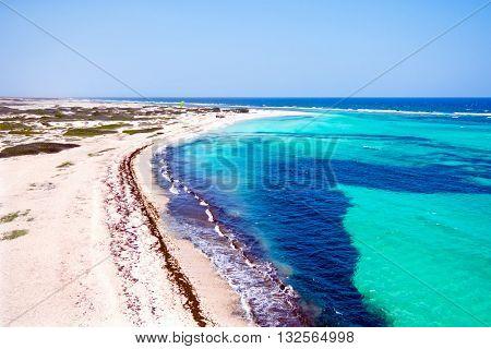 Aerial from Boca Grandi on Aruba island in the Caribbean Sea