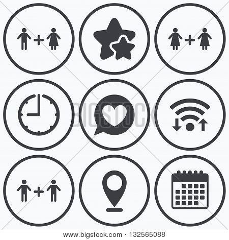 Clock, wifi and stars icons. Couple love icon. Lesbian and Gay lovers signs. Romantic homosexual relationships. Speech bubble with heart symbol. Calendar symbol.