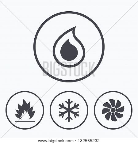 HVAC icons. Heating, ventilating and air conditioning symbols. Water supply. Climate control technology signs. Icons in circles.
