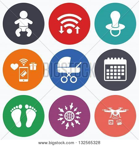 Wifi, mobile payments and drones icons. Baby infants icons. Toddler boy with diapers symbol. Buggy and dummy signs. Child pacifier and pram stroller. Child footprint step sign. Calendar symbol.