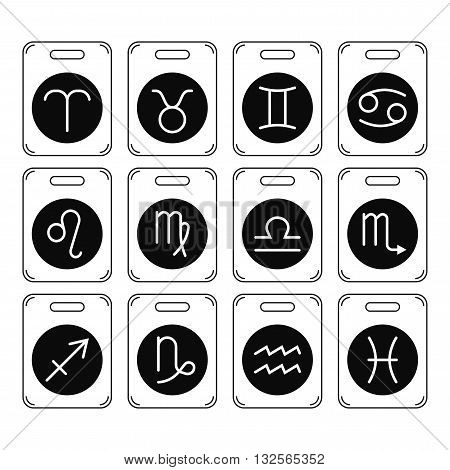 Signs of the zodiac for horoscope and predictions. Black and white object. Linear vector