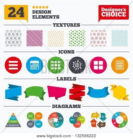 Banner tags, stickers and chart graph. List menu icons. Content view options symbols. Thumbnails grid or Gallery view. Linear patterns and textures.