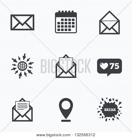 Calendar, like counter and go to web icons. Mail envelope icons. Message document symbols. Post office letter signs. Location pointer.