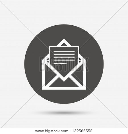 Mail icon. Envelope symbol. Message sign. Mail navigation button. Gray circle button with icon. Vector