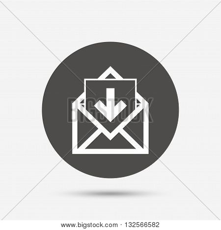Mail icon. Envelope symbol. Inbox message sign. Mail navigation button. Gray circle button with icon. Vector