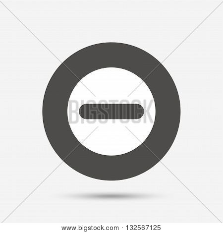 Minus sign icon. Negative symbol. Zoom out. Gray circle button with icon. Vector